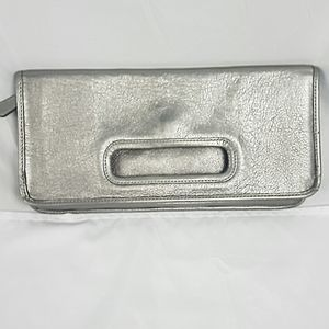 Coach Legacy Leather Fold Over Clutch Silver